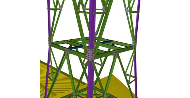 Traliccio metallico: nodo attacco montanti - diagonali